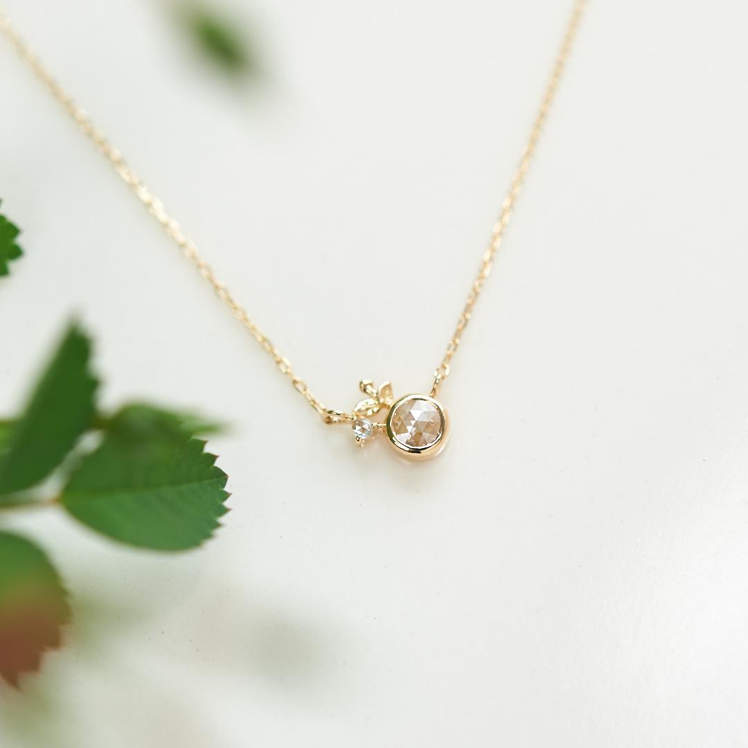 ローズカットダイヤモンド 新芽 K18 ネックレス