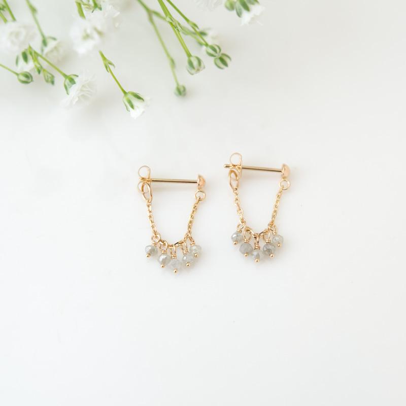 ミルヴァ グレーダイヤモンド K10YG プチピアス