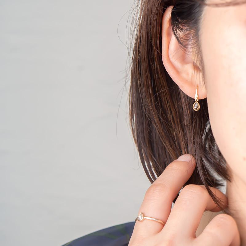 【1点もの】ローズカット ブラウンダイヤモンド K18YG シルクピアス