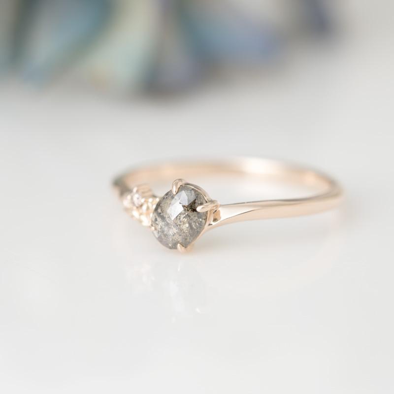 カーボンドット ナチュラルダイヤモンド  K10YG リング